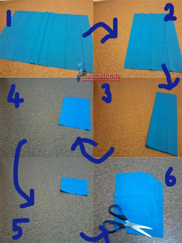 Ambil kertas crepe paper, bentangkan dan lipat ikut step dalam