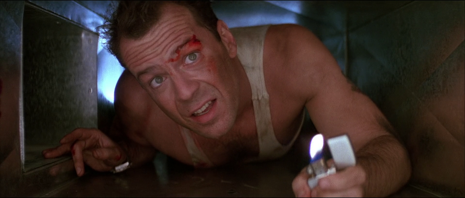 Die Hard Bruce Willis film 1988 air vent lighter scene screenshot
