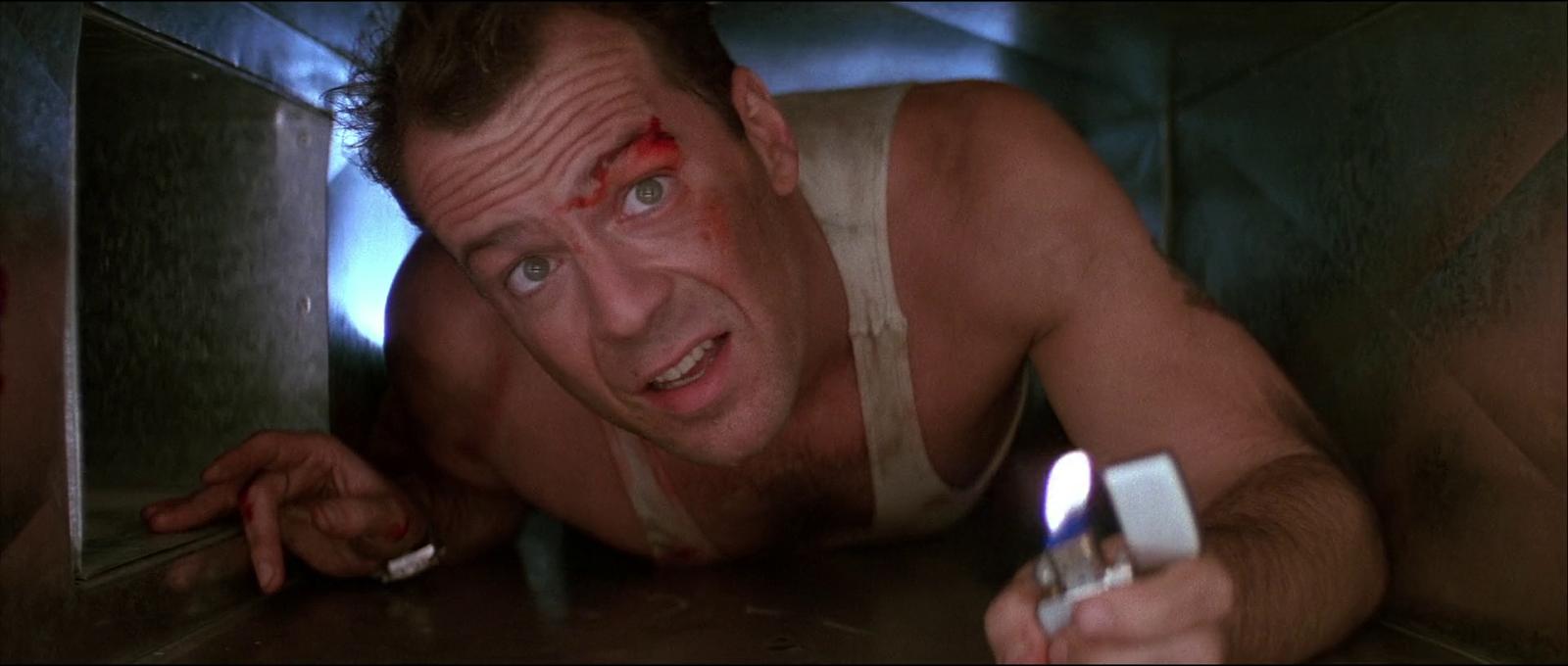 Die Hard Bruce Willis film 1988 air vent lighter scene screenshot