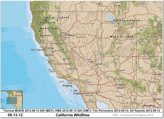 California Wildfires Today Location, Perimeter and Hot-spot Map
