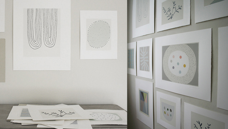 The studio wall with some of my neutral coloured botanical prints