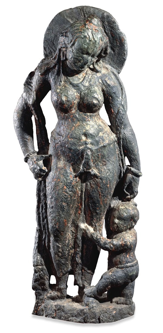 Schist Figure of a Matrika (mother goddess) with a Child - 7th Century AD