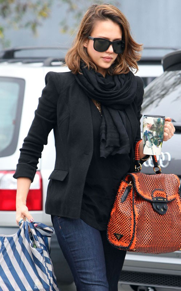 Jessica Alba - Prada Madras Satchel