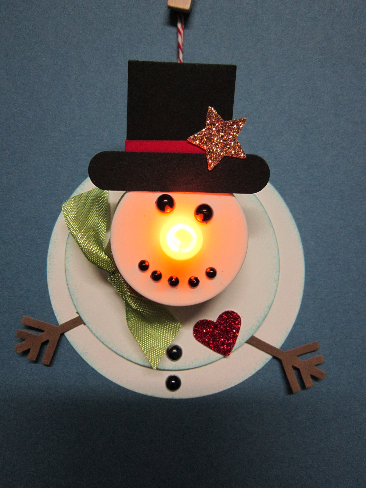 Krafting with karen flameless candle snowman ornament for Christmas candles and ornaments