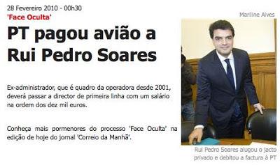 Rui Pedro Soares avião pago estado