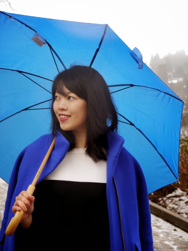 Cobalt blue coat and umbrella, black-and-white colourblocked sweater dress