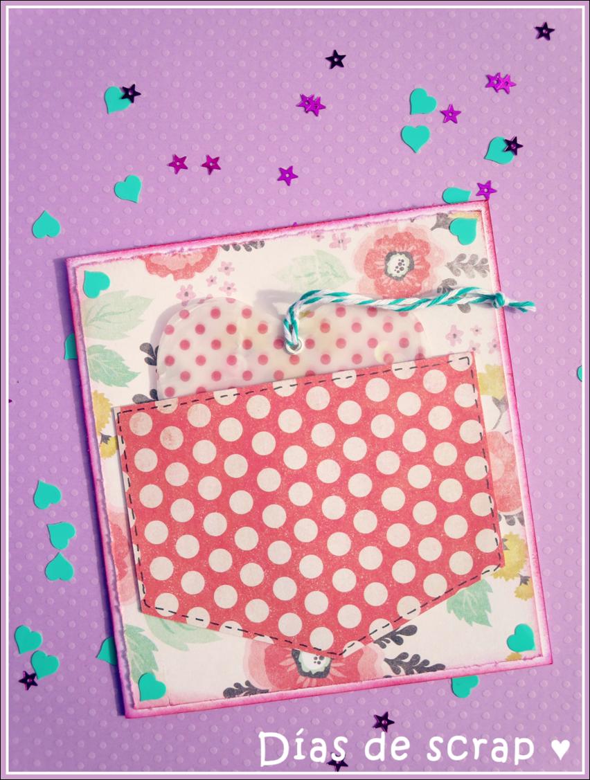 scrap Postal con corazón de confeti en bolsillo para reto Kimidori