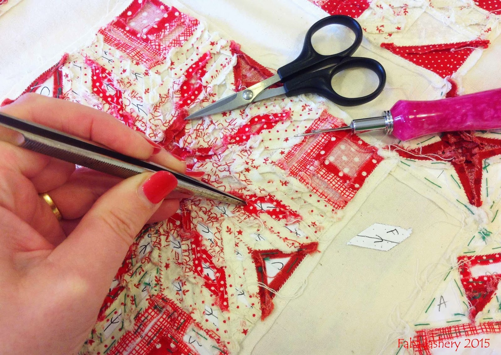 Removing English Paper Piecing templates
