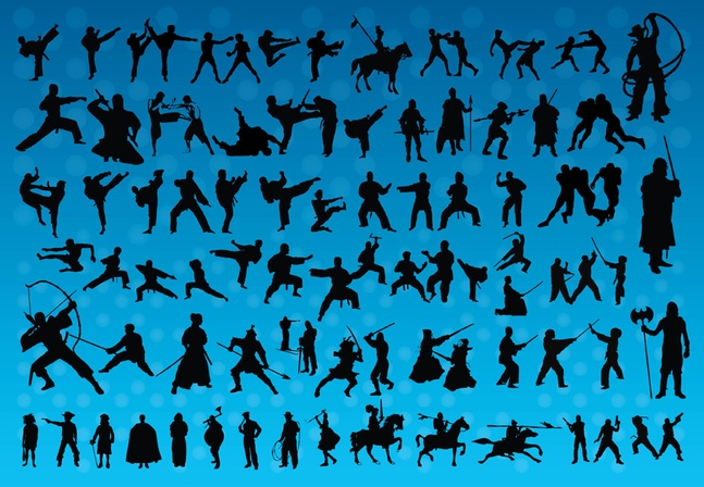 Free Vector Fighting Silhouettes Graphics