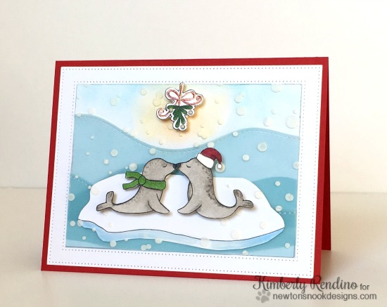 Kissing seals Mistletoe Christmas Card by Kimberly Rendino | Holiday Smooches Stamp set by Newton's Nook Designs #newtonsnook