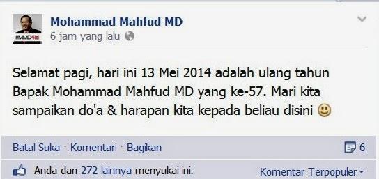 Ternyata , 13 Mei Hari Ulang Tahun Moh Mahfud Md