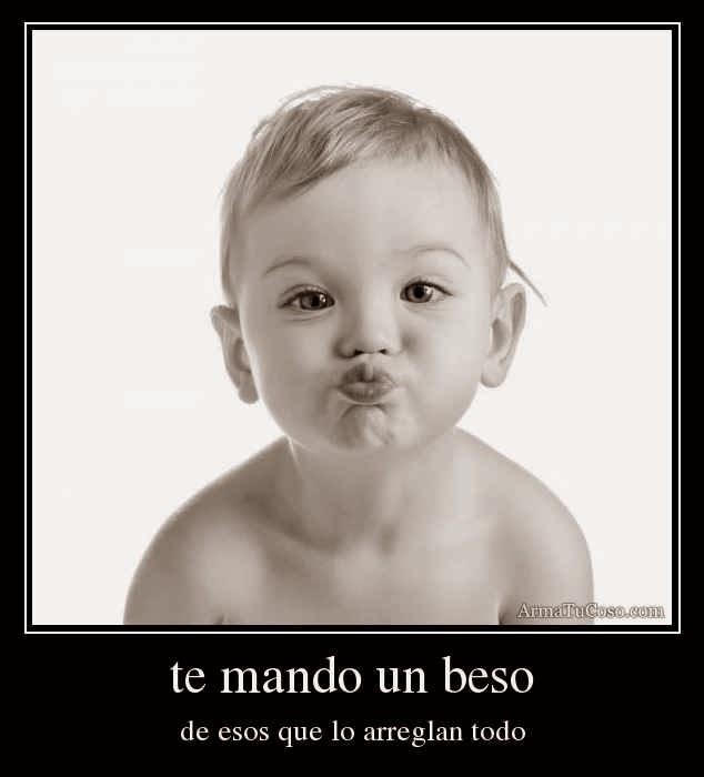 Imagenes De Te Mando Besos - Imagen de amor de un osito con frase que le regala muchos