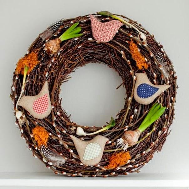 МК веночек с текстильными птичками