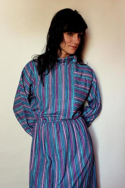 vintage dress autumn winter  blue pattern