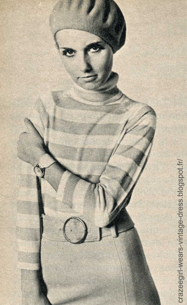 vintage knit sweater dress striped robe pull tricot rayé années 60 60s 1960 twiggy mod acribel createx