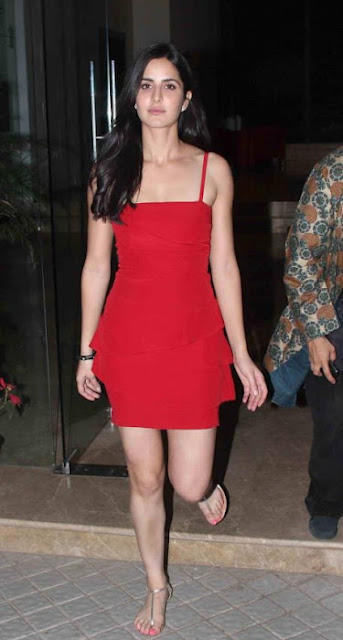 Katrina Kaif Hot Legs in Red Dress Photo Stills