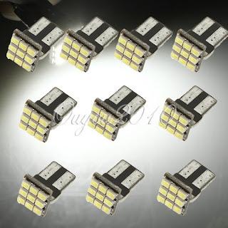 10X T10 194 168 921 W5W 9 SMD Car Side Wedge Signal LED Light Lamp White DC 12V
