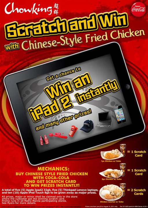 Chowking chinese style fried chicken raffle promo prizes