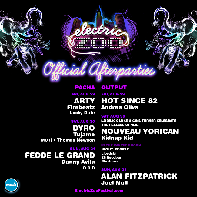 Electric Zoo 2014 Official Afterparties