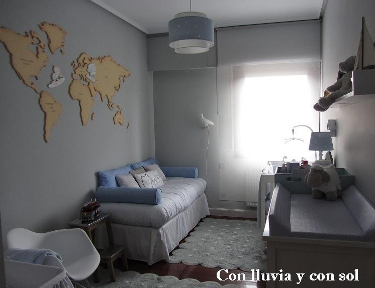 Con lluvia y con sol mapamundi para habitaci n infantil - Color gris perla para paredes ...