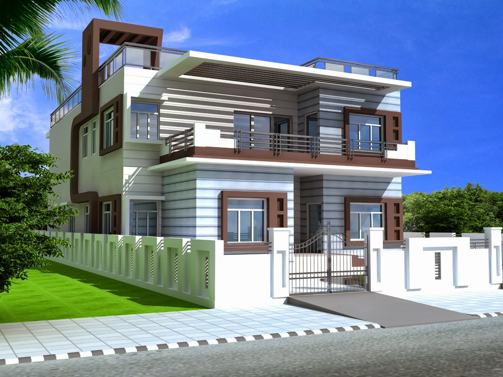 Foundation dezin decor duplex homes 3ds max work for Duplex houseplans