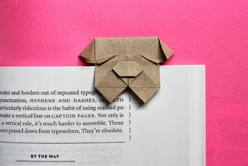 Origami bulldog bookmark