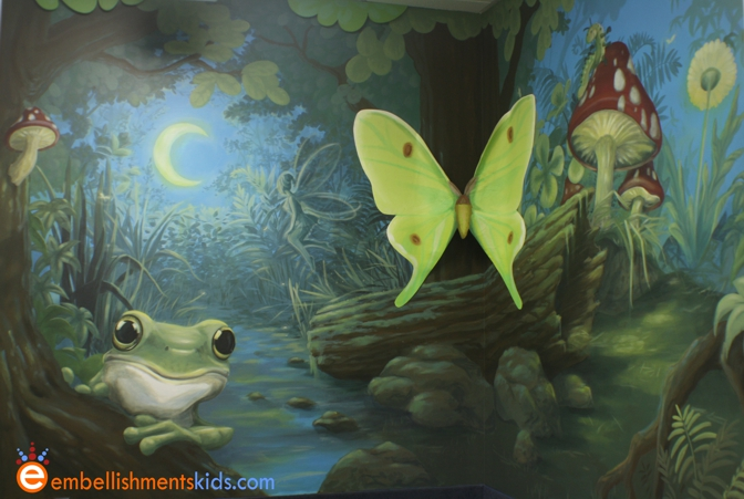 Embellishments kids murals transform bland spaces in a school for Fairy forest mural
