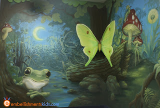 frog, fairy and mushroom mural by EmbellishmentsKids.com