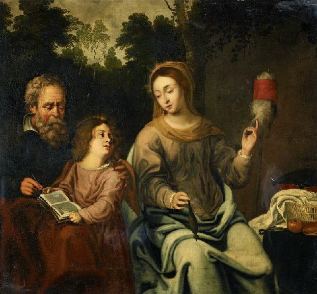 Heilige Anna am Spinnen, mit Josef der Maria das lesen beibringt
