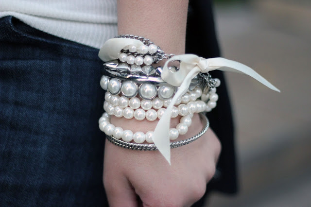 Pearls and Silver Bangle Arm Candy