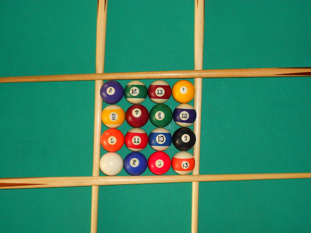 Installation of magic square 4x4 using pool balls (16 is the white ball) photo 2.
