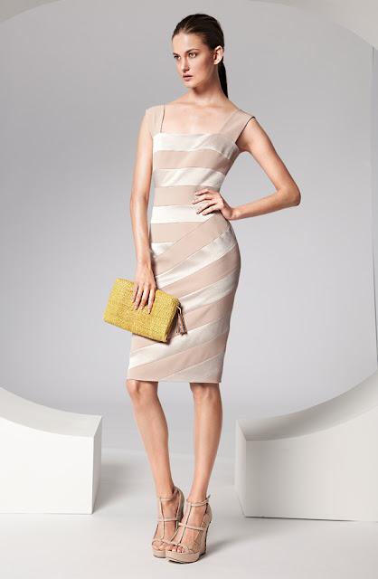 escada sıfır kol krem şeritli elbise modeli