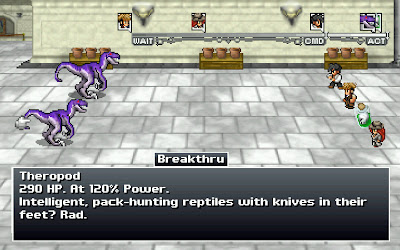 Old school RPG combat with often hilarious enemy descriptions in Penny Arcade On the Rain Slick Precipice of Darkness 3
