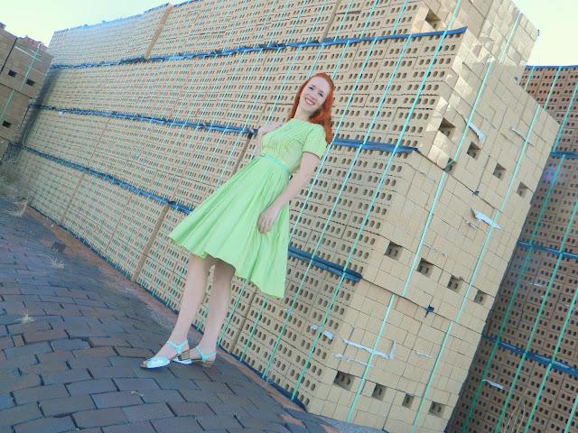 1950s green Jeanne Model dress DIY handpainted shoes Just Peachy, Darling