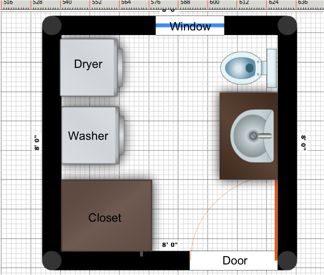Bathroom Layout with Washer and Dryer