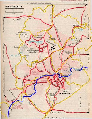 Mapa de acessos a Belo Horizonte