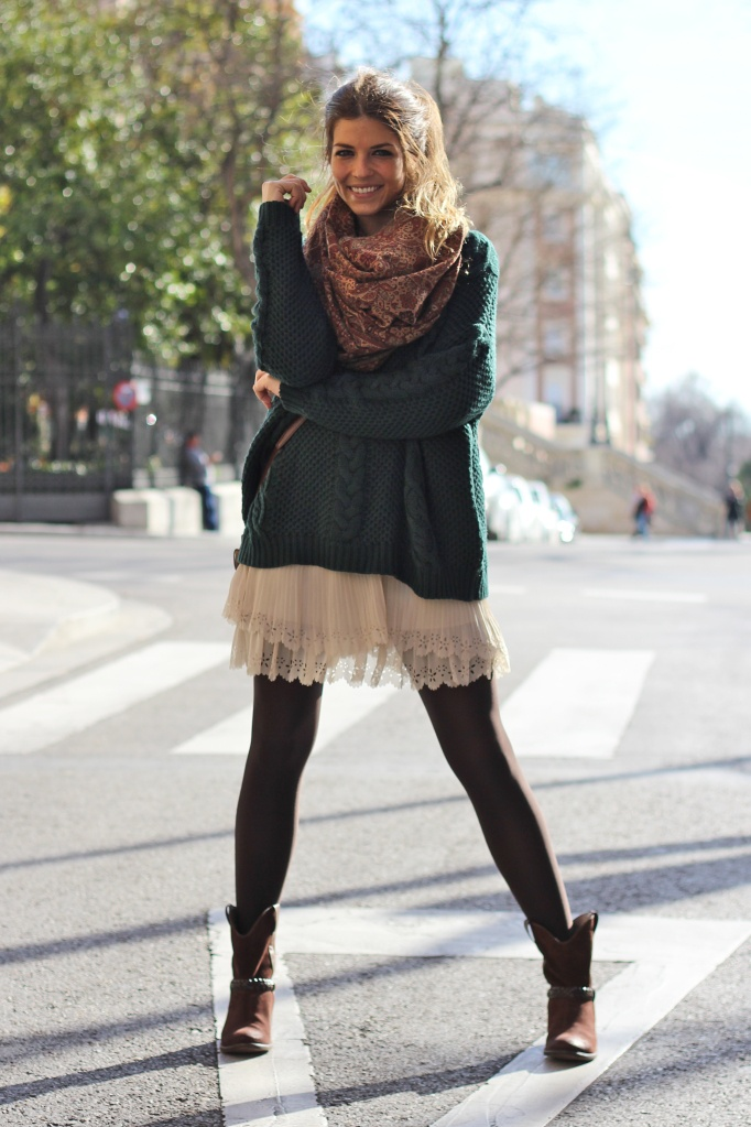 Fall fashion scarf, skirt and sweater