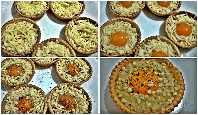 Preparación de las tartaletas de huevos de codorniz