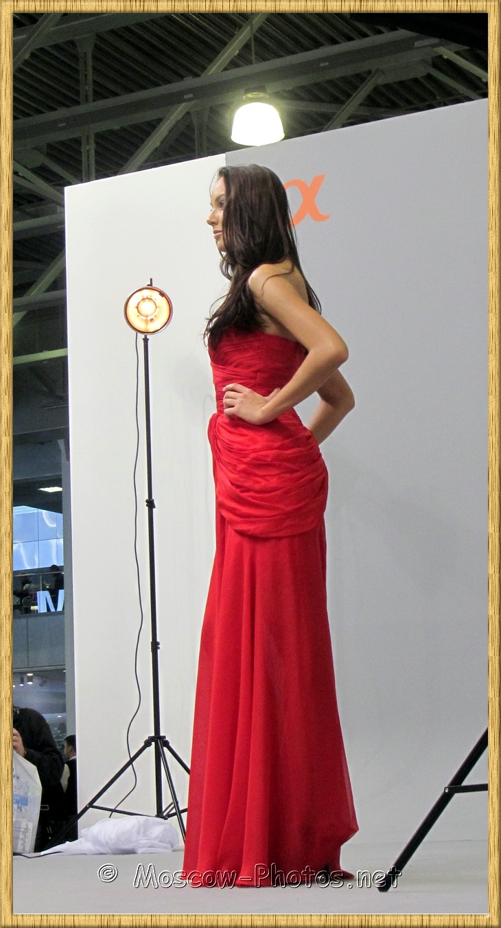 Slim Model Red Dress. Photoforum 2012.