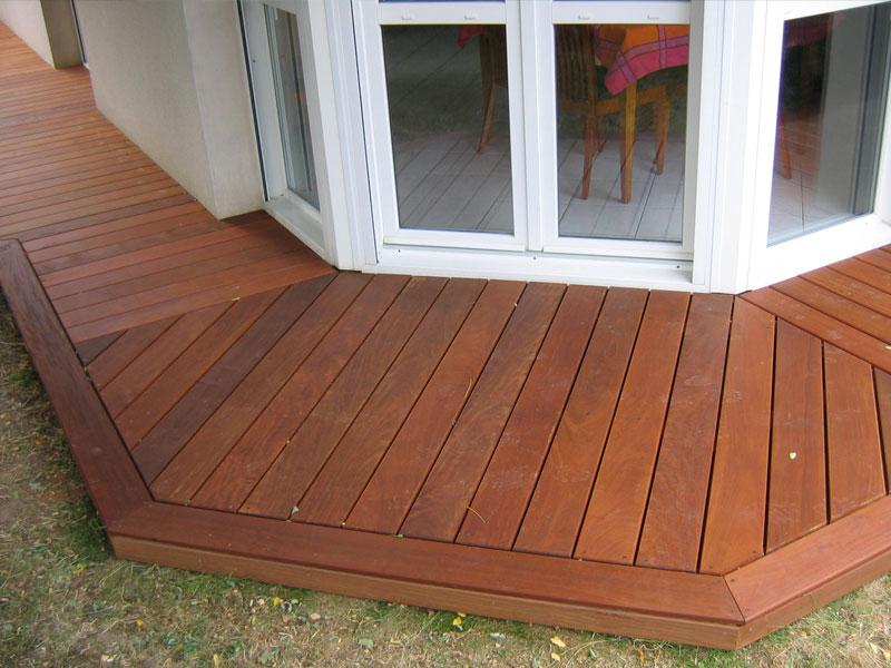 Wood Floor Terrace And Swimming Beach