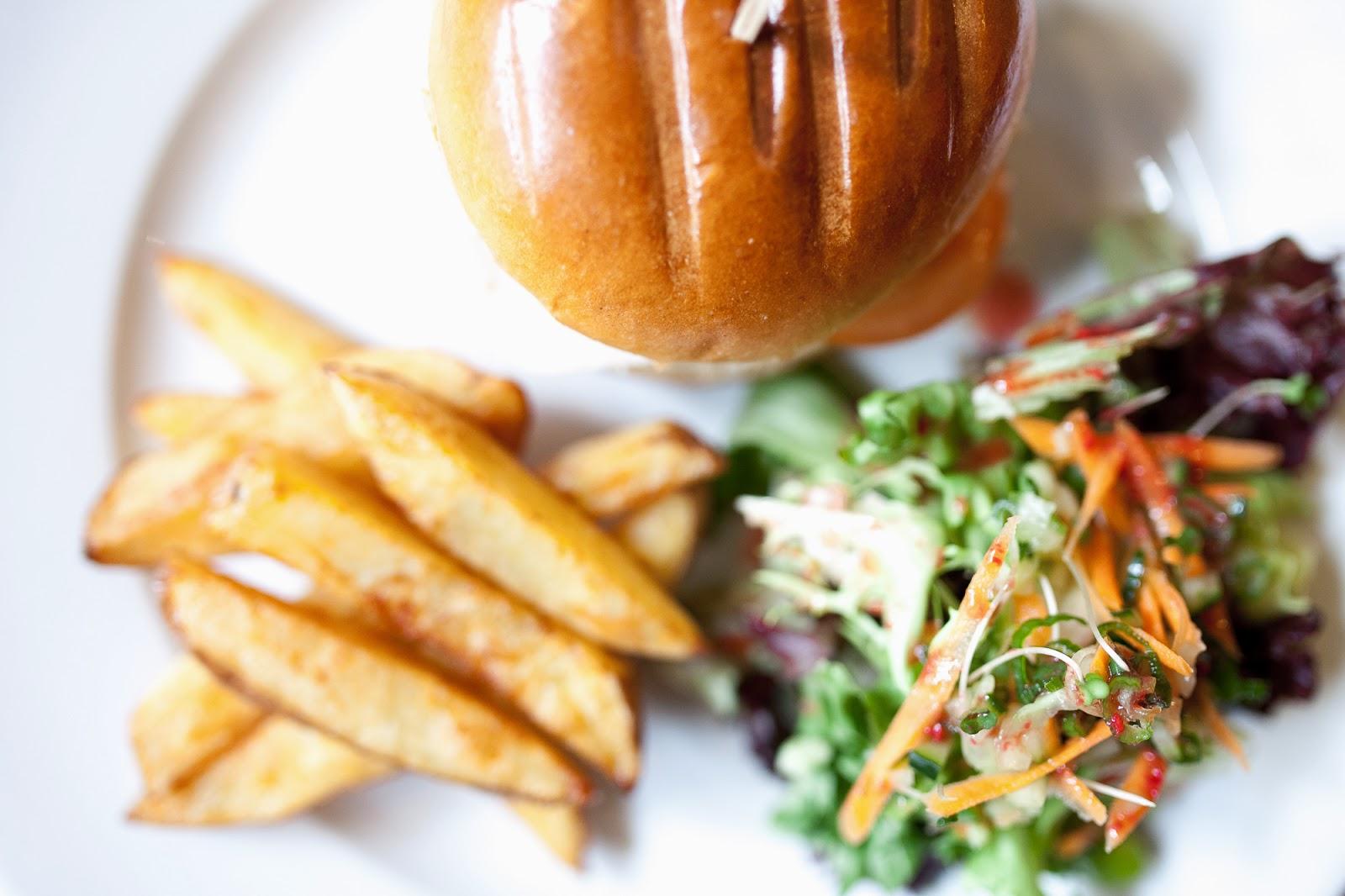 Burger chips and salad