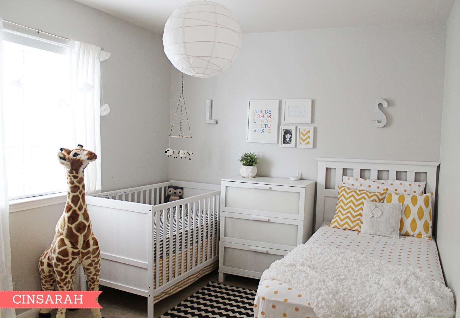 cinsarah levi 39 s shared nursery reveal. Black Bedroom Furniture Sets. Home Design Ideas