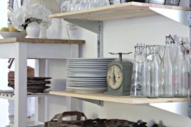 These simple open shelves get the work done without any added frills