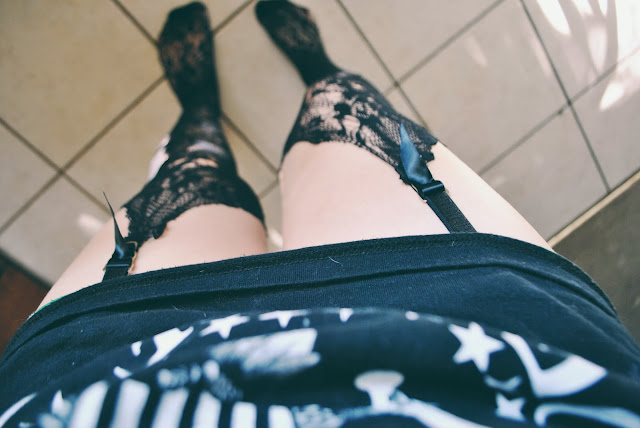 Ramones T-Shirt and DIY floral fishnet stockings