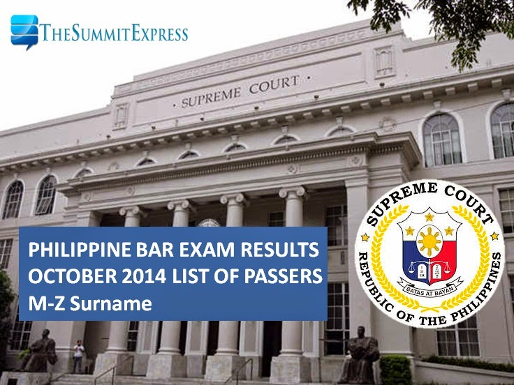 M-Z Passers: Philippine bar exam 2014 Official Results