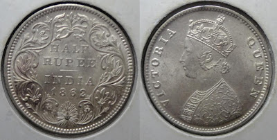 victoria 1862 half rupee