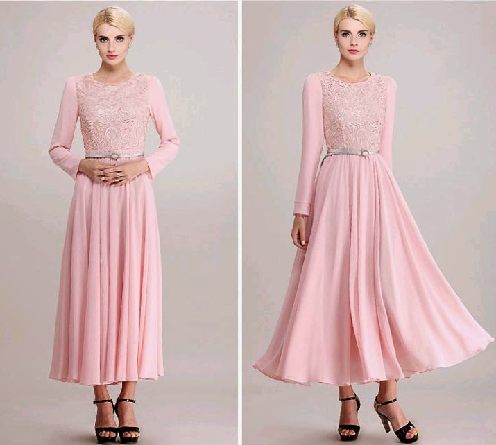 Long Sleeve Pink Top-Embroidered Chiffon Maxi Dress