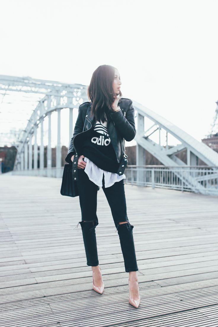 Alex's Closet: Leather Jacket, Adidas T-shirt, Nude Pumps, Black Ripped Jeans