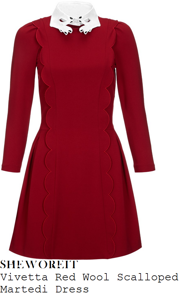 jenna-louise-coleman-red-scallop-front-three-quarter-sleeve-hand-collar-dress-doctor-who-50th-celebration