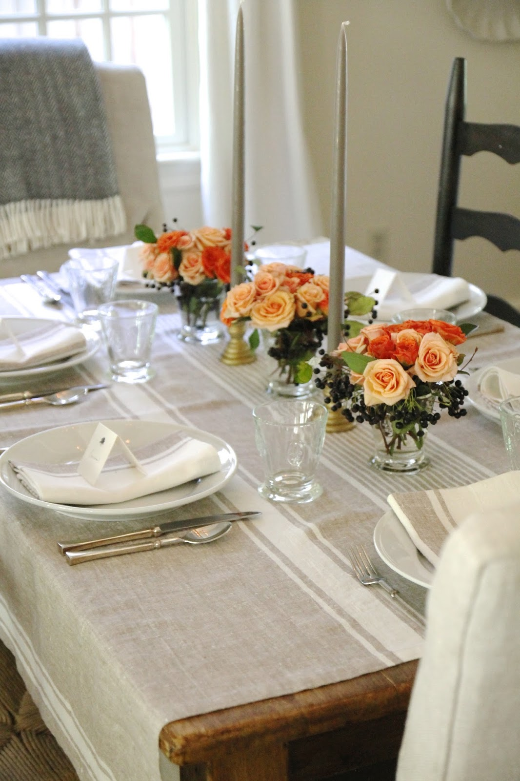Fall Ish Table Setting | DIY Coral U0026 Peach Roses With Privet Berries |  Provence Beige Linens